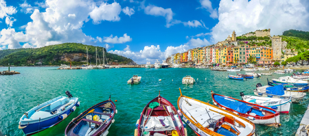 blue sea: Beautiful fisherman town of Portovenere near Cinque Terre, Liguria, Italy