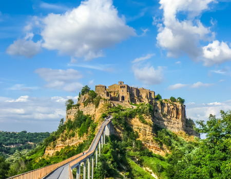 panoramic: Beautiful panoramic view of famous Civita di Bagnoregio with Tiber river valley, Lazio, Italy