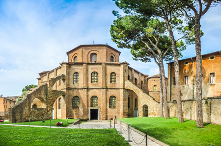 basilica: Famous Basilica di San Vitale, one of the most important examples of early Christian Byzantine art in western Europe, in Ravenna, region of Emilia-Romagna, Italy