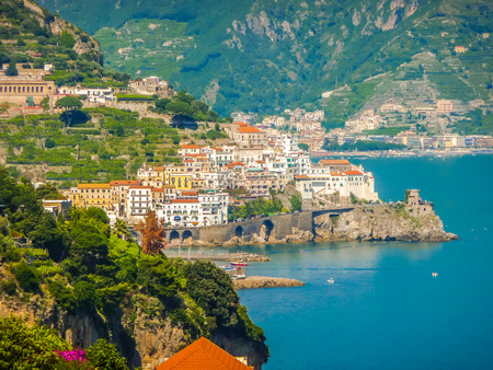azure coast: Scenic picture-postcard view of famous Amalfi Coast with beautiful Gulf of Salerno, Campania, Italy