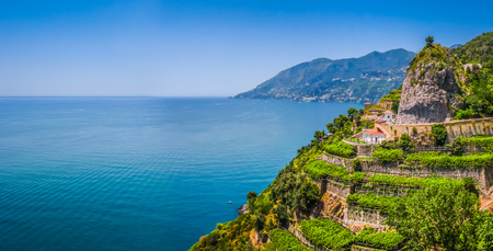 coastlines: Scenic picture-postcard view of famous Amalfi Coast with beautiful Gulf of Salerno, Campania, Italy
