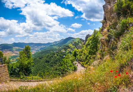 lucania: Panoramic view of the famous Lucan Dolomite mountains and historic Pietrapertosa, one of The most beautiful villages in Italy, in Basilicata, Italy