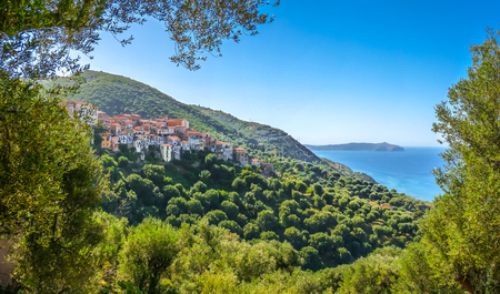 Panoramic view of beautiful coastal landscape at the Cilentan Coast on Capo Palinuro, province of Salerno, Campania, southern Italy