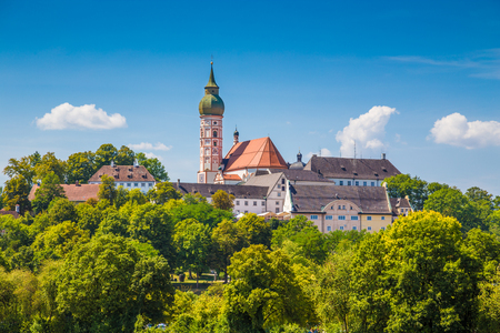 priory: Beautiful view of famous Andechs Abbey on top of a hill in summer, district of Starnberg, Upper Bavaria, Germany