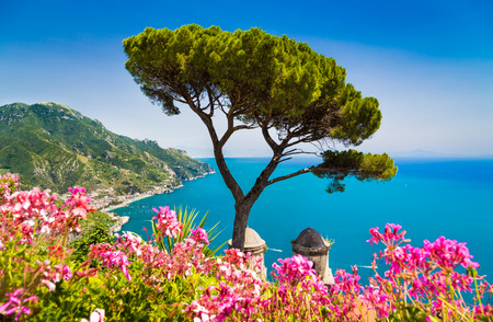 Scenic picture-postcard view of famous Amalfi Coast with Gulf of Salerno from Villa Rufolo gardens in Ravello, Campania, Italy Stock Photo