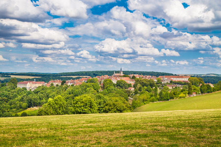 starring: Beautiful view of the medieval town of Flavigny-sur-Ozerain, filming location of the 2000 movie Chocolat starring Juliette Binoche and Johnny Depp, in Burgundy, France Stock Photo