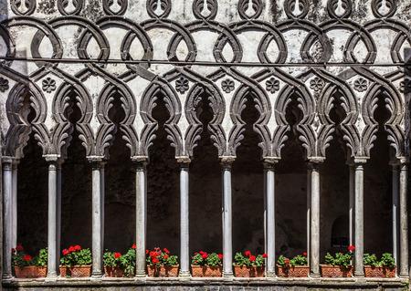 columns: Beautiful view of famous cloister columns of Villa Rufolo in Ravello, Amalfi Coast, Campania, Italy Stock Photo
