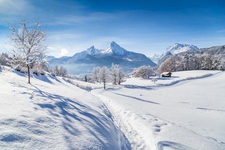 landschap: Mooie winter landschap met bomen en bergtoppen in de Alpen, op een zonnige dag met blauwe lucht en de wolken Stockfoto