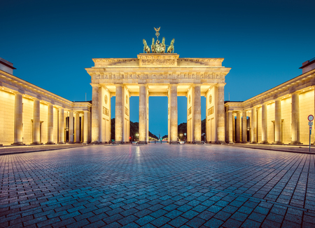 morning blue hour: Brandenburg Gate at night, Berlin, Germany