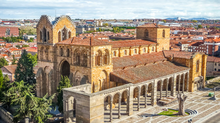 castile leon: Beautiful panoramic view of the historic Basilica de San Vicente in Avila, Castilla y Leon, Spain