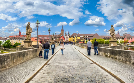 alte: Beautiful view of famous Alte Mainbrucke the historic city of Wurzburg on a sunny day, region of Franconia, Northern Bavaria, Germany