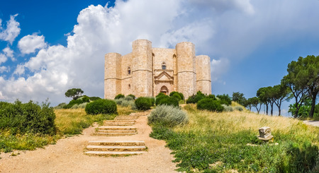 Beautiful view of Castel del Monte, the famous castle built in an octagonal shape by the Holy Roman Emperor Frederick II in the 13th century in Apulia, southeast Italy