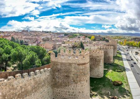 castilla y leon: Beautiful view of the historic walls of Avila, Castilla y Leon, Spain