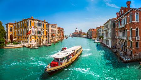 venice gondola: Famous Canal Grande with Basilica di Santa Maria della Salute in Venice, Italy