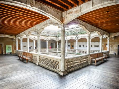 plateresque: Beautiful view of famous Patio de la Casa de las Conchas in Salamanca, Castilla y Leon, Spain