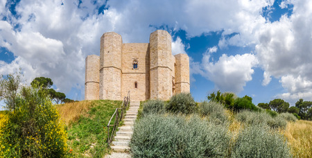 octagonal: Beautiful view of Castel del Monte, the famous castle built in an octagonal shape by the Holy Roman Emperor Frederick II in the 13th century in Apulia, southeast Italy