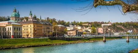salzach: Beautiful view of Salzburg skyline with Festung Hohensalzburg and Salzach river in sping