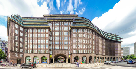 Wide angle view of famous Chilehaus Chile House in Hamburg, Germany Editorial