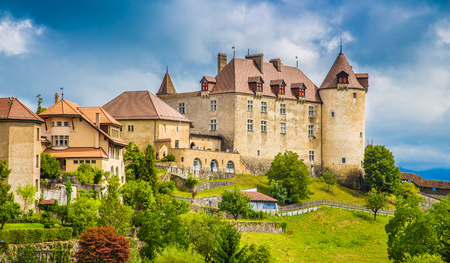 freiburg: Beautiful view of the medieval town of Gruyeres, home to the world-famous Le Gruyere cheese, canton of Fribourg, Switzerland