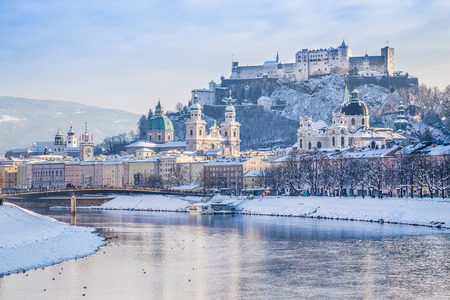city scene: Beautiful view of the historic city of Salzburg with Salzach river in winter, Salzburger Land, Austria Stock Photo