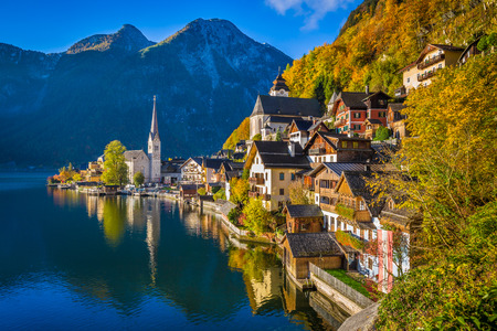 Scenic picture-postcard view of famous Hallstatt mountain village with Hallstatter See in the Austrian Alps