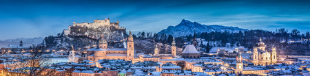 blue hour: Panoramic view of the historic city of Salzburg with Hohensalzburg Fortress in winter at blue hour, Salzburger Land, Austria Stock Photo