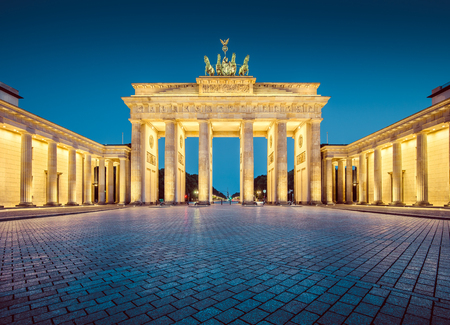 Classic view of famous Brandenburg Gate, one of the best-known landmarks and national symbols of Germany
