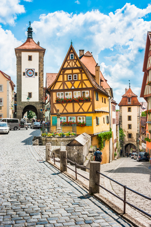bayern old town: Beautiful view of the historic town of Rothenburg ob der Tauber, Franconia, Bavaria, Germany