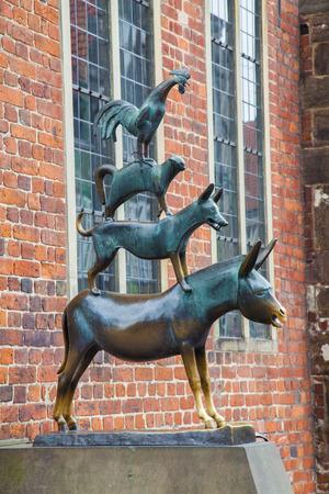 銅像で有名なブレーメンの町の音楽家を描いたゲルハルト ・ Marcks の美しい景色