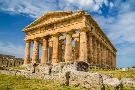 worl: Temple of Hera at famous Paestum Archaeological  which contains some of the most well-preserved ancient Greek temples in the worl Stock Photo