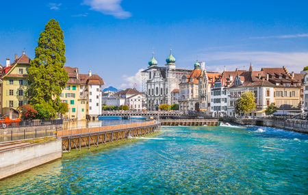 jesuit: Beautiful view of the the historic city center of Lucerne with famous baroque Jesuit Church St Franz Xaver