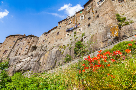 vitorchiano: Beautiful view of the medieval town of Vitorchiano on a sunny day with blue sky and clouds in summer, province of Viterbo, Lazio, Italy Stock Photo