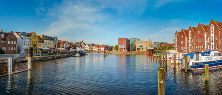 Panoramic view of the old town of Husum, the capital of Nordfriesland and birthplace of German writer Theodor Storm, in Schleswig-Holstein, Germany