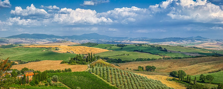 Scenic Tuscany landscape with rolling hills and valleys in golden evening light, Val dOrcia, Italy