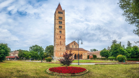 Panoramic view of historic Abbey of Pomposa, the world famous Benedictine monastery, Codigoro, Emilia-Romagna, Italy