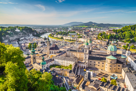 Aerial view of the historic city of Salzburg, Salzburg Land, Austria Stock Photo