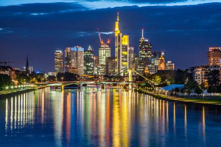 hessen: Beautiful view of Frankfurt am Main skyline at dusk, Germany