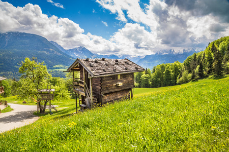 Panoramic view of idyllic mountain landscape in the Alps with fresh green mountain pastures, flowers and old traditional mountain lodge in springtime Stock Photo