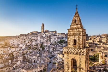 european culture: Ancient town of Sassi di Matera, European Capital of Culture 2019, in beautiful golden morning light, Basilicata, southern Italy