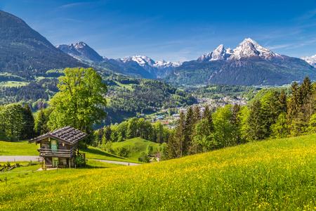 Vue panoramique idyllique paysage de montagne dans les Alpes avec des produits frais verts pâturages de montagne avec des fleurs et ancien pavillon traditionnel de montagne au printemps