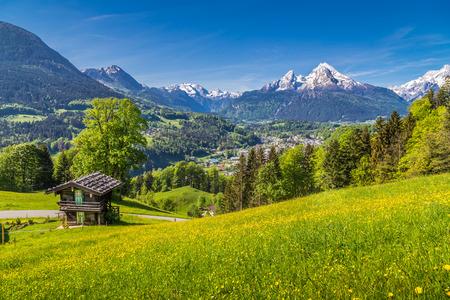 landschap: Panoramisch uitzicht op de idyllische berglandschap in de Alpen met een traditionele houten chalet en verse groene alpenweiden met bloeiende bloemen op een zonnige dag met blauwe lucht en de wolken in de zomer Stockfoto