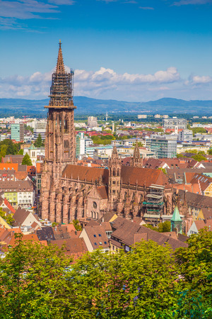 freiburg: Historic town of Freiburg im Breisgau with famous Freiburg Minster cathedral in beautiful morning light, state of Baden-Wurttemberg, southwest Germany Stock Photo