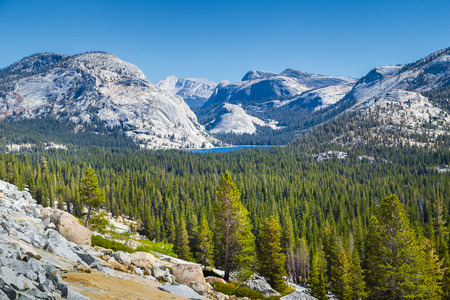 Scenic panoramic view of beautiful Sierra Nevada mountain scenery with famous Tenaya Lake on a sunny day with blue sky in summer, Yosemite National Park, California, USA