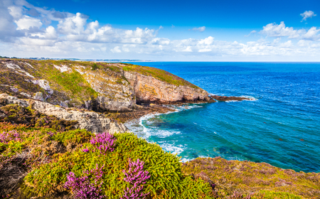 Panoramic view of beautiful coastal scenery at famous Cap Frehel peninsula on the Cote dEmeraude, commune of Plevenon, Cotes-dArmor, Bretagne, northern France