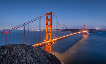 spencer: Classic panoramic view of famous Golden Gate Bridge seen from famous Battery Spencer viewpoint in beautiful post sunset twilight during blue hour at dusk in summer, San Francisco, California, USA Stock Photo