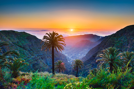 Beautiful view of amazing tropical scenery with exotic palm trees and mountain valleys above wide open sea in golden evening light at sunset with blue sky and clouds in summer, Canary Islands, Spain Reklamní fotografie - 75470119