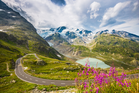 Beautiful view of winding mountain pass road in the Alps running through idyllic alpine scenery with mountain peaks, glaciers, lakes and green pastures with blooming flowers in summer