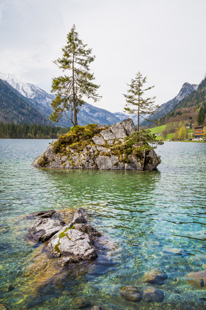 Beautiful scene of trees on a rock island in idyllic scenery at charming Lake Hintersee, Nationalpark Berchtesgadener Land, Upper Bavaria, Germany Banque d'images