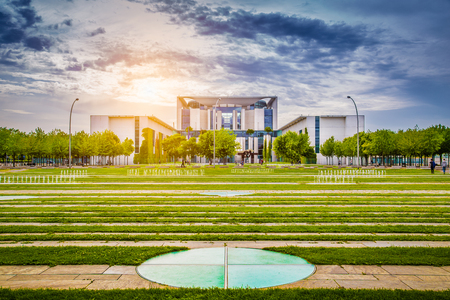 Panoramic view of Bundeskanzleramt (German Federal Chancellery), main seat and office of Chancellor Angela Merkel and the Chancellery staff, in golden evening light at sunset, central Berlin, Germany