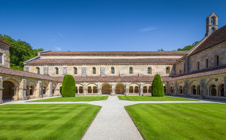 Beautiful view of famous Cistercian Abbey of Fontenay, a UNESCO World Heritage Site since 1981, on a sunny day with blue sky in summer, commune of Marmagne, Burgundy, France